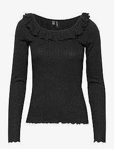 VMCLARA L/S FRILL TOP EXP - knitted tops & t-shirts - black
