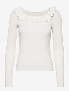 VMCLARA L/S FRILL TOP EXP - knitted tops & t-shirts - snow white