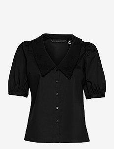 VMALLY 2/4 COLLAR SHIRT WVN GA - kortärmade skjortor - black