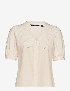 VMALLY 2/4 COLLAR SHIRT WVN GA - kortärmade skjortor - snow white