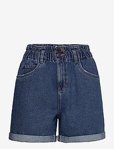 VMNINETEEN HR LOOSE PAPERBAG SHORT COLOR - shorts - medium blue denim