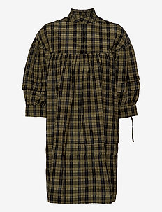 VMJOSEFINE3/4 SHORT CHECKED DRESS FX - vardagsklänningar - ivy green