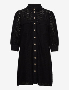 VMHENNY LACE 3/4 SHORT SHIRT DRESS EXP - vardagsklänningar - black