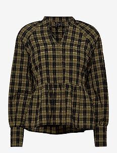 VMJOSEFINE LS CHECK TOP FX - pitkähihaiset paidat - ivy green