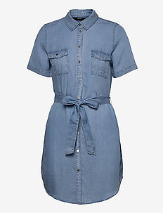 VMSILJA SS SHORT SHIRT DRESS GA - sommarklänningar - light blue denim