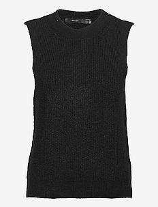 VMOLINA SL O-NECK VEST COLOR - stickade västar - black