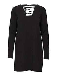 VMTULINE LS MINI DRESS V - BLACK
