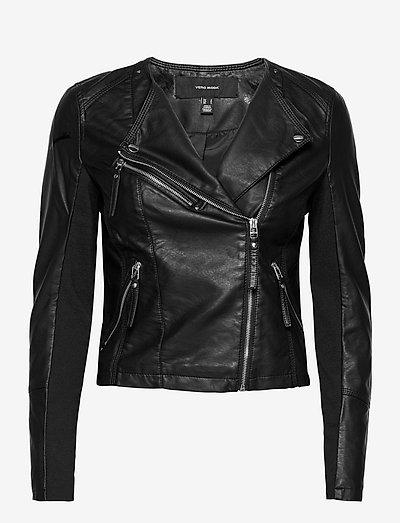 VMRIAFAVO SHORT COATED JACKET - læderjakker - black