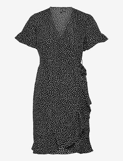 VMHENNA 2/4 WRAP FRILL DRESS - midi dresses - black