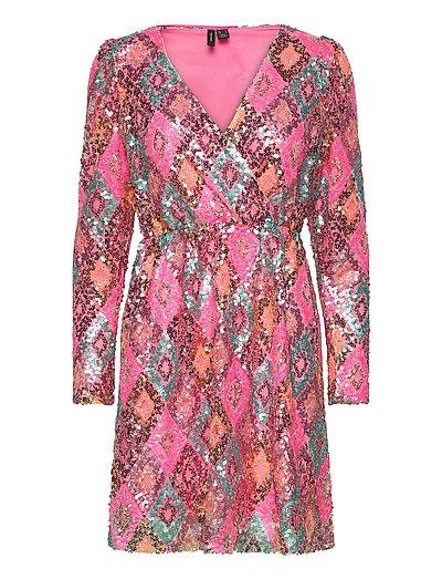 Vmdiva Sequins L/S Short Dress Exp Kurzes Kleid Pink VERO MODA   VERO MODA SALE
