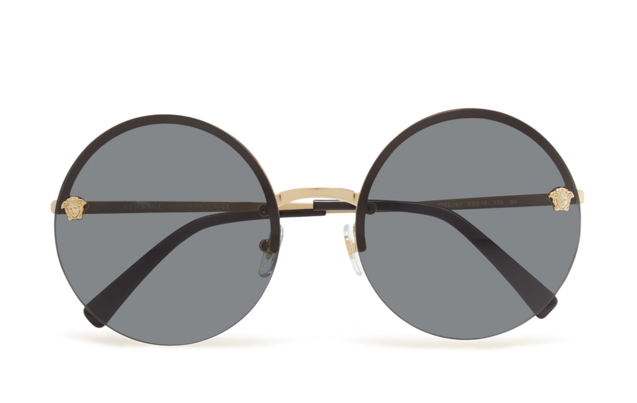 Round Frame (Pale Gold) (£180) - Versace Sunglasses - Sunglasses ...