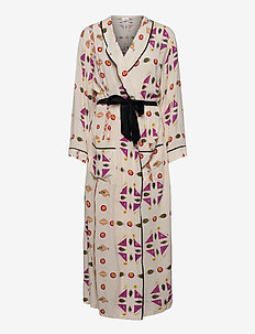Printed Paper Viscose Robe Dress - pyjamas & nuisettes - pressed botanicals - pnk /mlt
