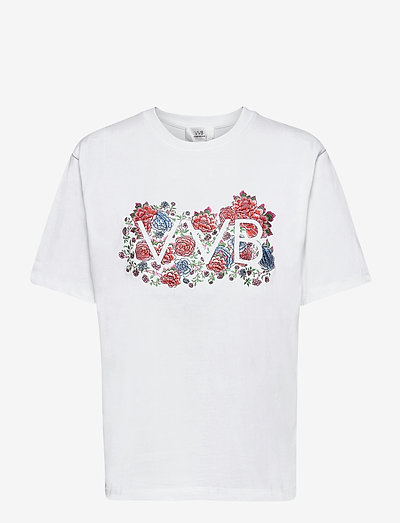 Embroidered Floral Logo Heavy Jersey T-Shirt - t-shirty - white