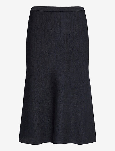 Fluted Soft Viscose Blend Skirt - spódnice do kolan i midi - navy melange / black