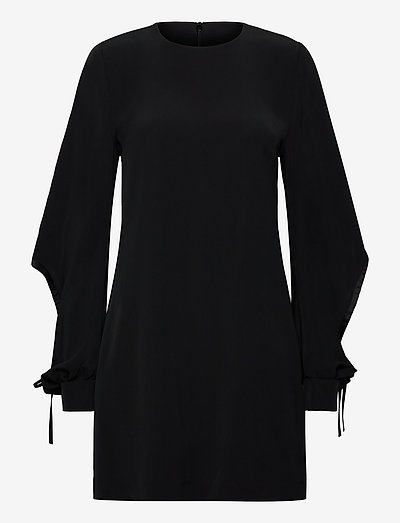 Drawstring Sleeve Satin Crepe Shift Dress - krótkie sukienki - black