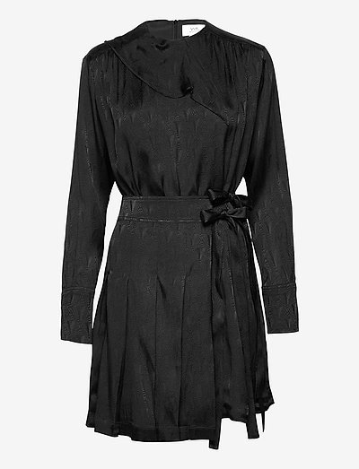 Pleated Silk Blend Jacquard Dress - sukienki koktajlowe - black