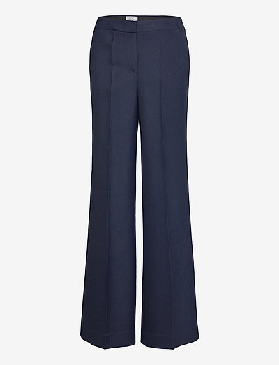 Wide Leg Wool Blend Trouser - spodnie - grey navy