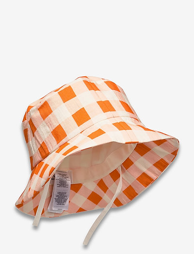 Gingham Check Bucket Hat - bucket hats - check - orng zest/wht sand