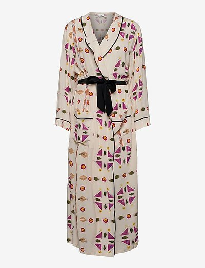 Printed Paper Viscose Robe Dress - pyjamas & nuisettes - pressed botanicals - pnk /mlt