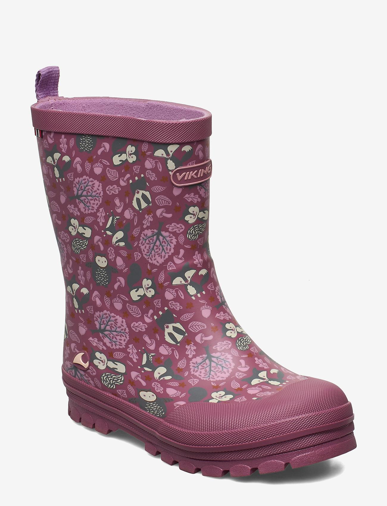 Viking - Jolly Woodland - unlined rubberboots - dark pink/multi - 0