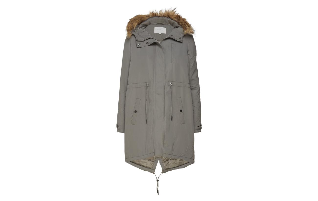 Gray Vitrust Vila Jacket Polyester 100 Long Parka Castor wzXXxq87v