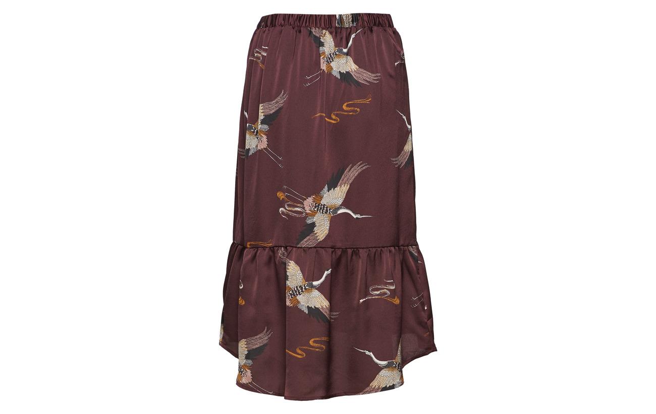 Vila Winetasting Skirt 100 Polyester Hw Midi Vinilana Yalin CAUwqrC