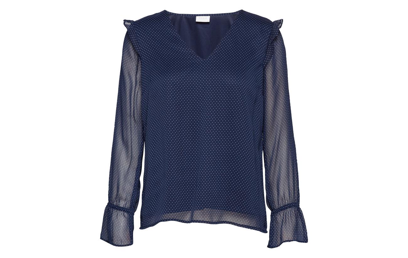 Vila neck Vidotly Top Polyester V s 100 Navy Blazer L rHaAUH
