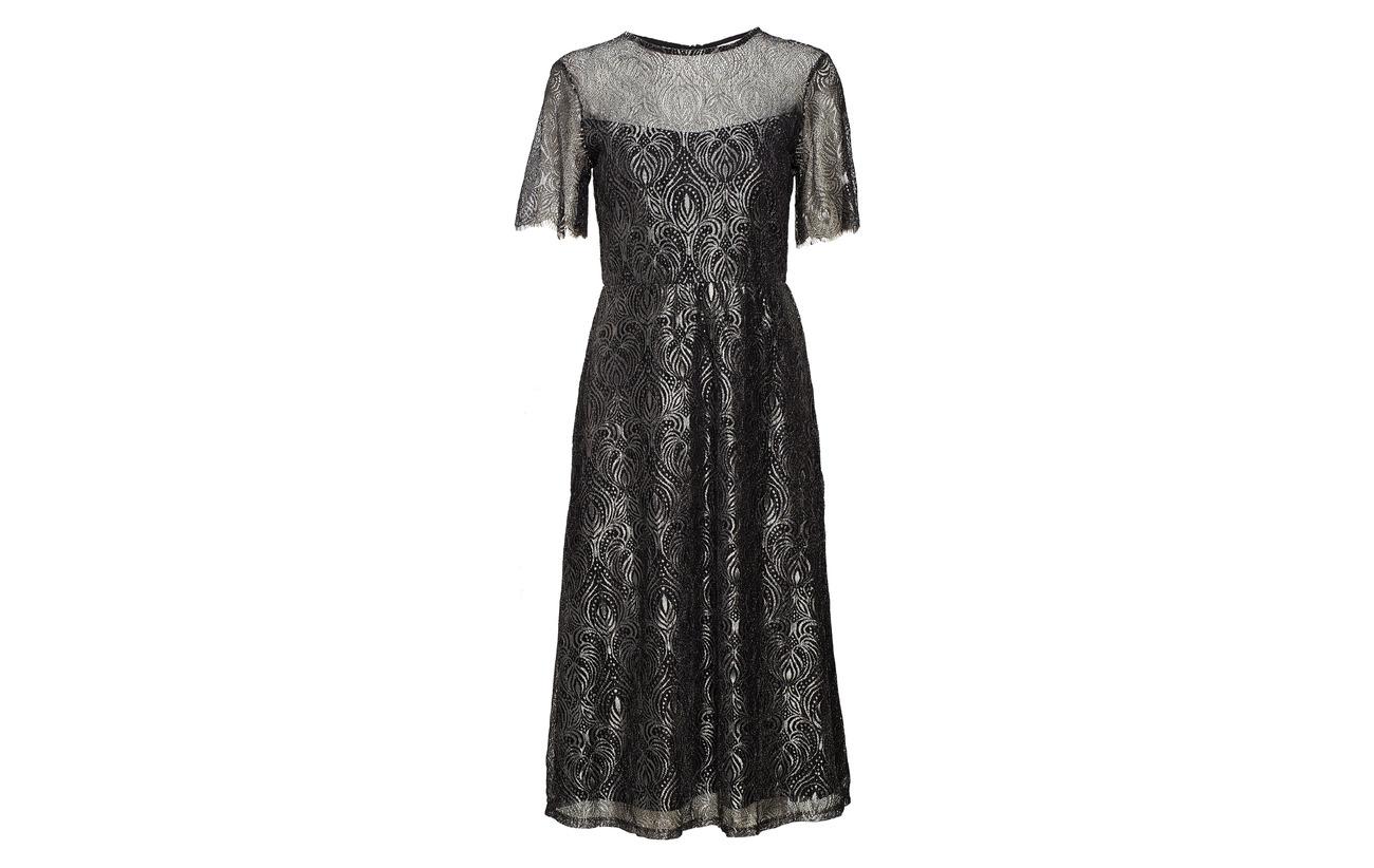 Midi Fibers Vileague Vila Polyester Dress Métallique Black 50 TUw5ayqw