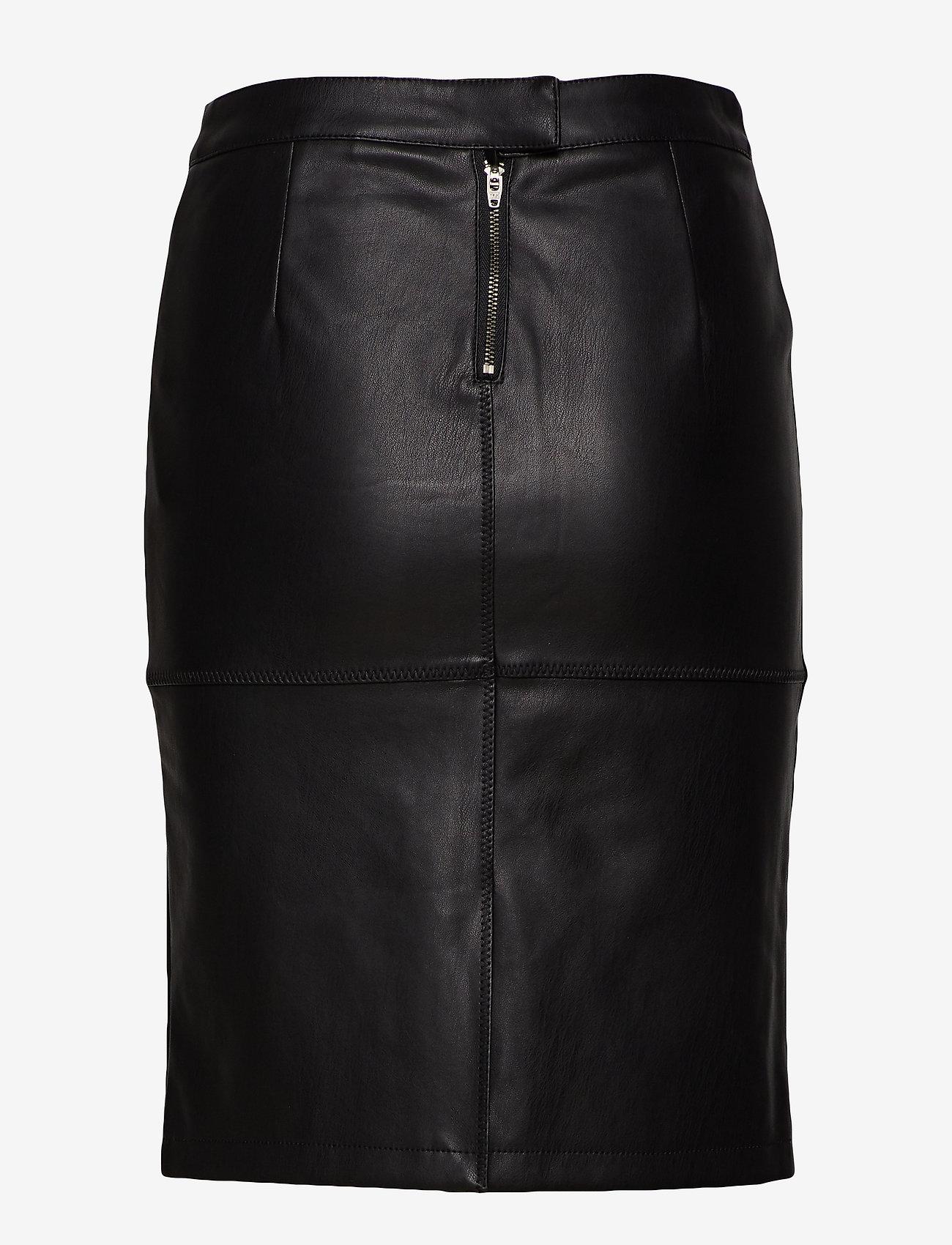 Vila - VIPEN NEW COATED SKIRT - NOOS - midi skirts - black - 1