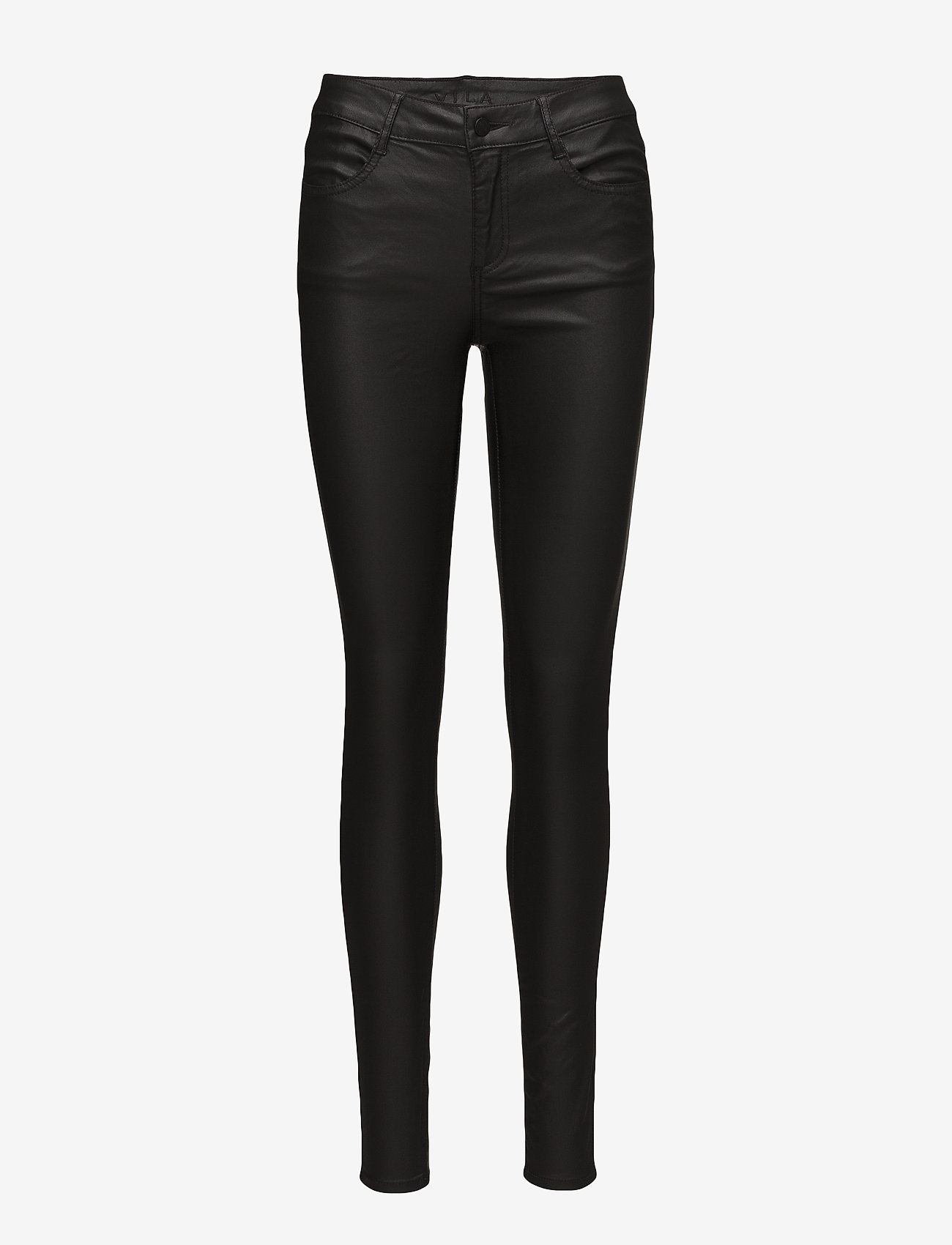 Vila - VICOMMIT COATED RWSK NEW PANT-NOOS - trousers with skinny legs - black - 0