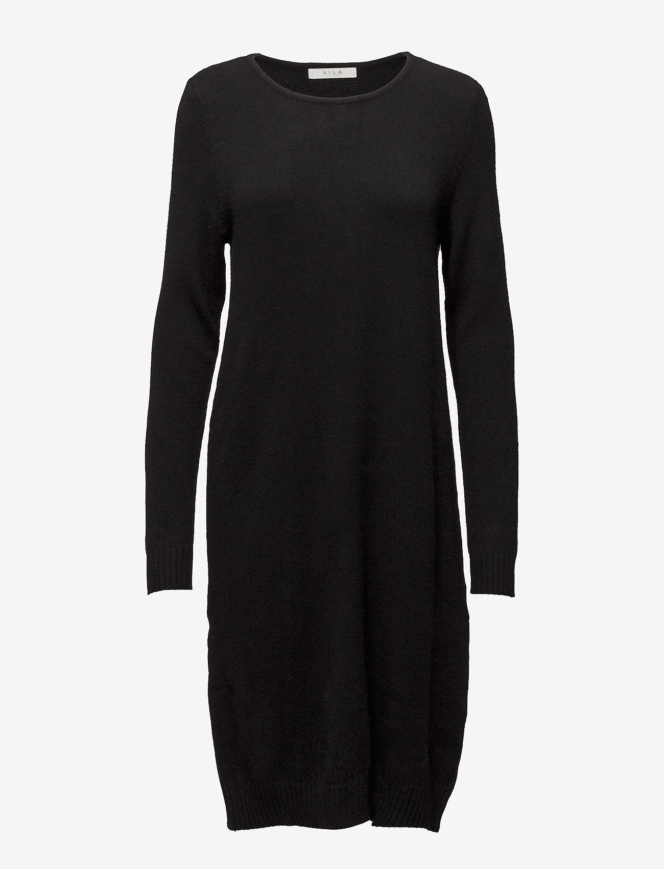 Vila - VIRIL L/S KNIT DRESS - NOOS - strikkede kjoler - black - 0