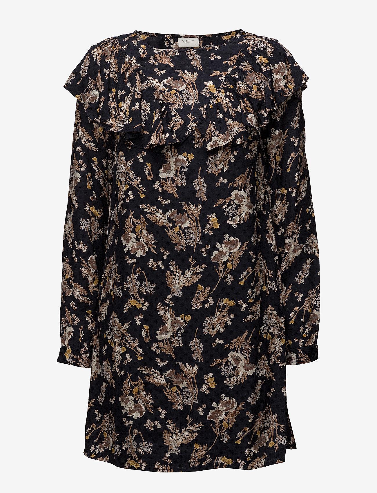 Vila - VIBETH L/S SLEEVE DRESS - short dresses - total eclipse - 0