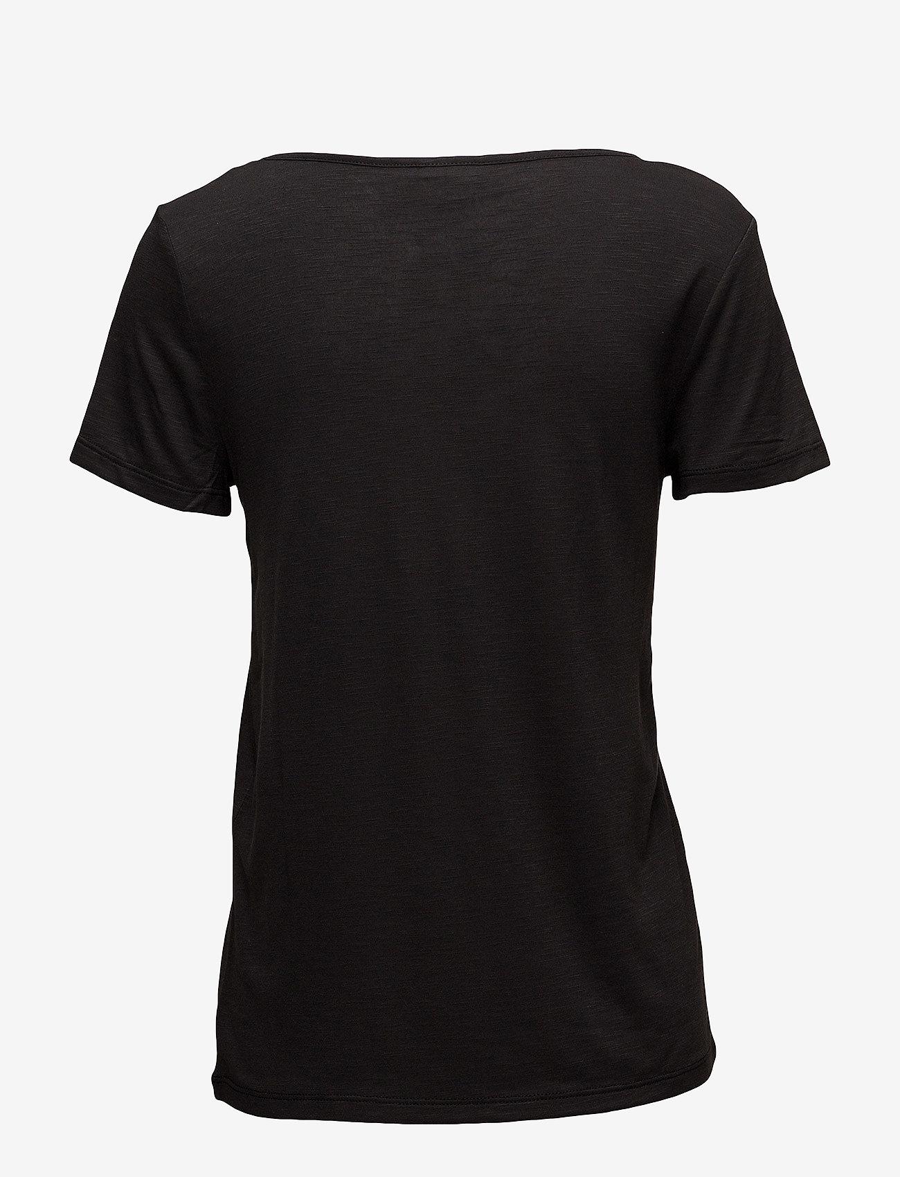 Vila - VINOEL S/S V-NECK T-SHIRT-NOOS - t-shirts - black - 1