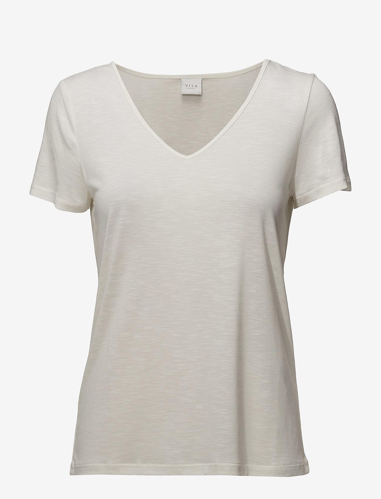 Vila - VINOEL S/S V-NECK T-SHIRT-NOOS - t-shirts - cloud dancer - 0