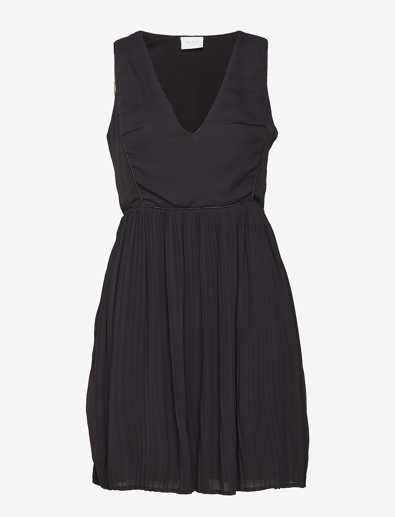 Vila - VILILLA S/L DRESS - midi dresses - black - 0