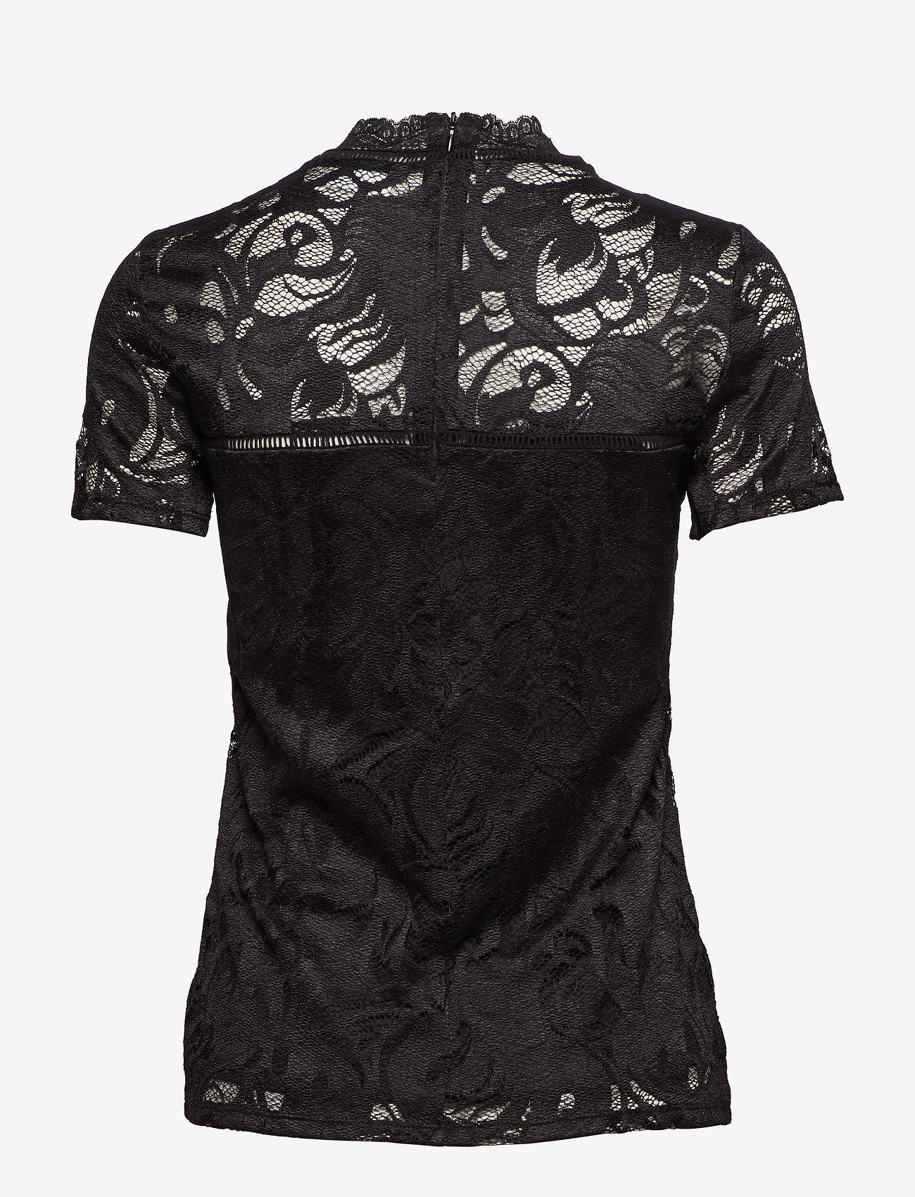 Vila - VISTASIA LACE S/S TOP - NOOS - t-shirts - black - 1