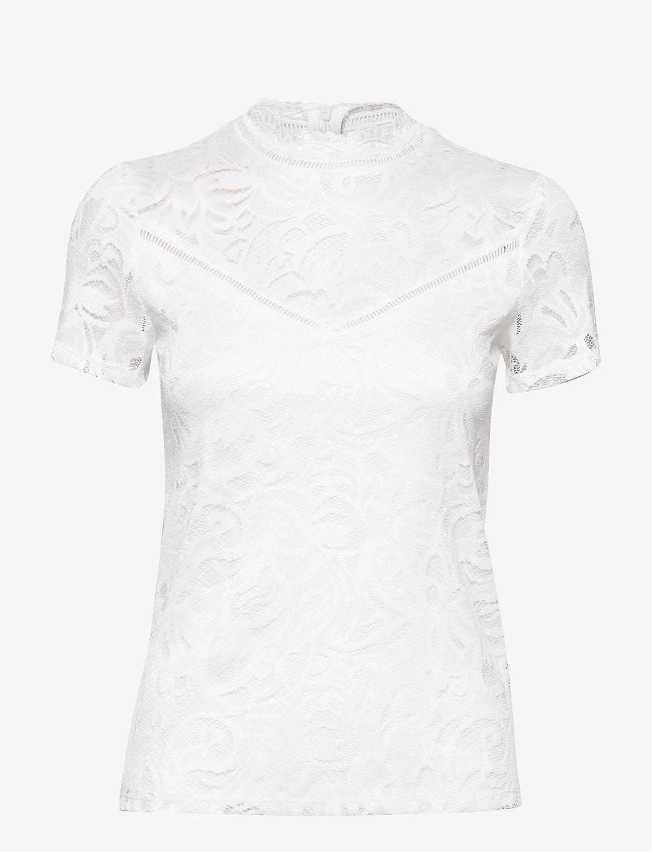 Vila - VISTASIA LACE S/S TOP - NOOS - basic t-shirts - cloud dancer