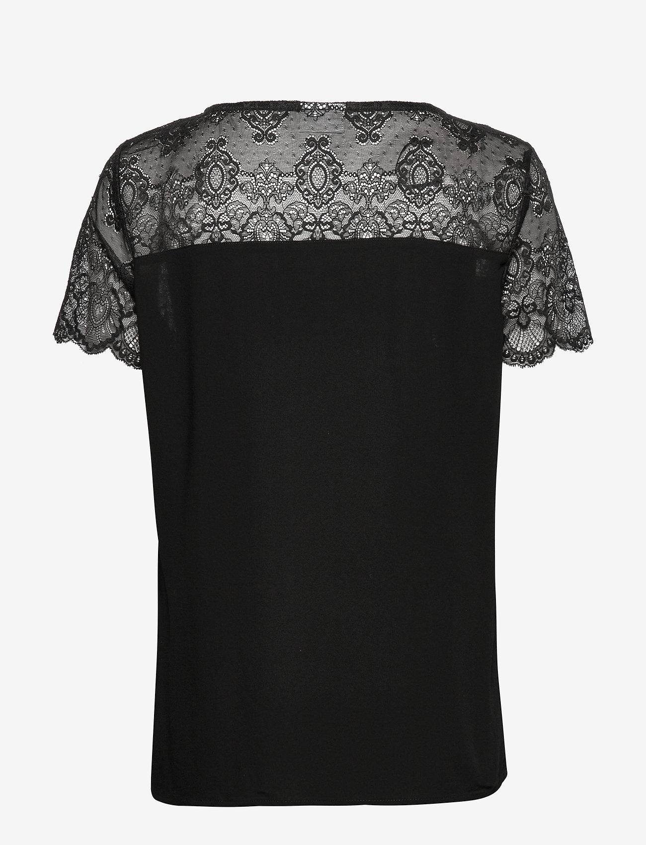Vila - VIMERO LACE S/S TOP/SU -NOOS - t-shirts - black - 1