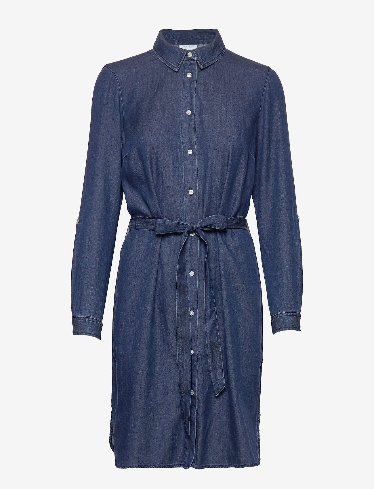 Vila - VIBISTA DENIM BELT DRESS/SU - NOOS - shirt dresses - dark blue denim - 0