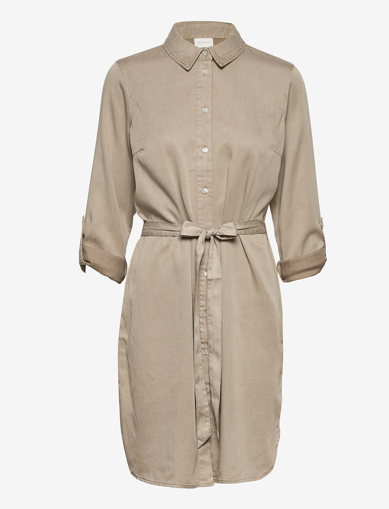 Vila - VIBISTA DENIM BELT DRESS/SU - - blousejurken - simply taupe - 1