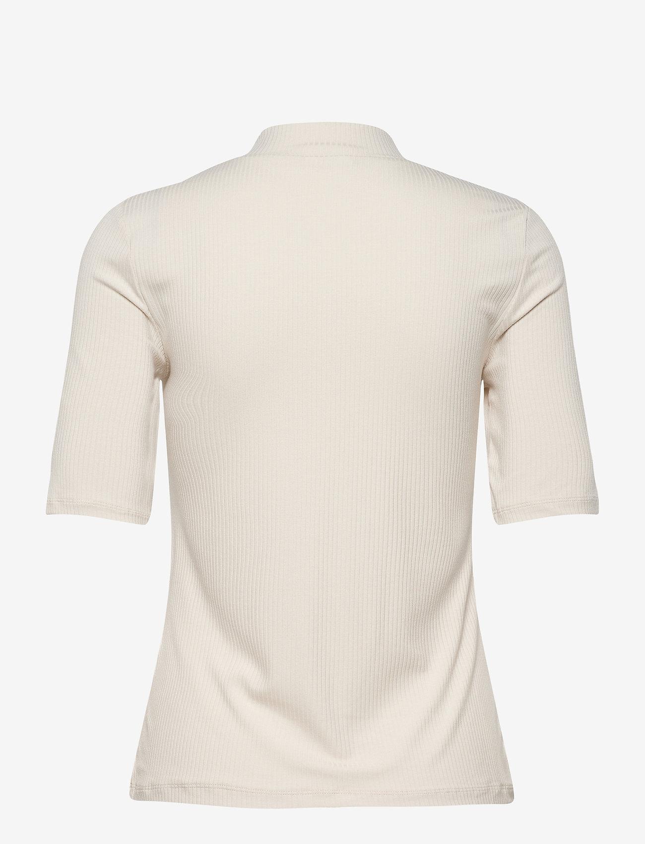 Vila - VISOLITTA RIB FUNNELNECK 2/4 TOP/SU-NOOS - t-shirts - birch - 1