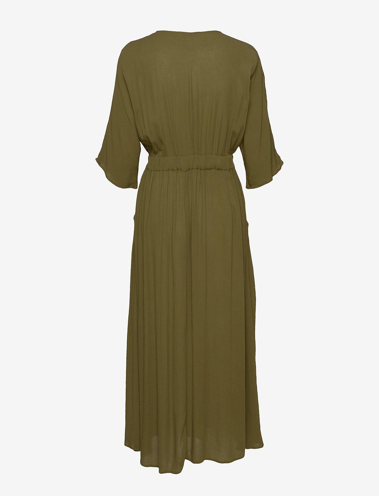 Vila - VIMETAN S/S MIDI DRESS/SU - wrap dresses - dark olive