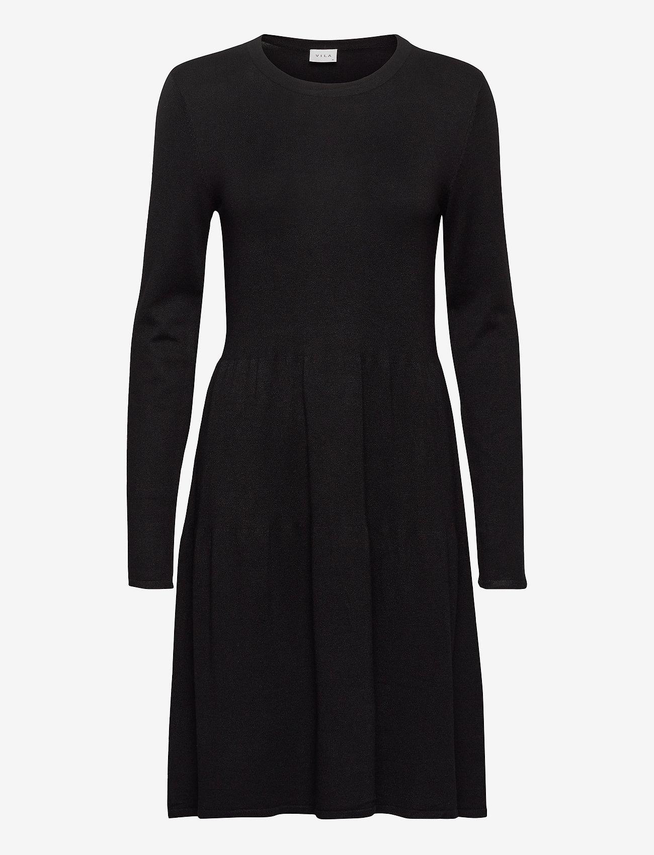 Vila - VIBOLONSIA KNIT L/S DRESS TB - midi dresses - black - 0