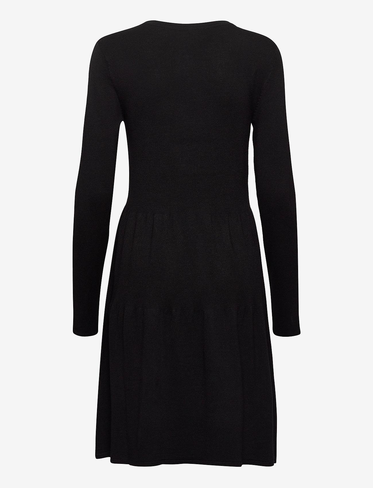Vila - VIBOLONSIA KNIT L/S DRESS TB - midi dresses - black - 1