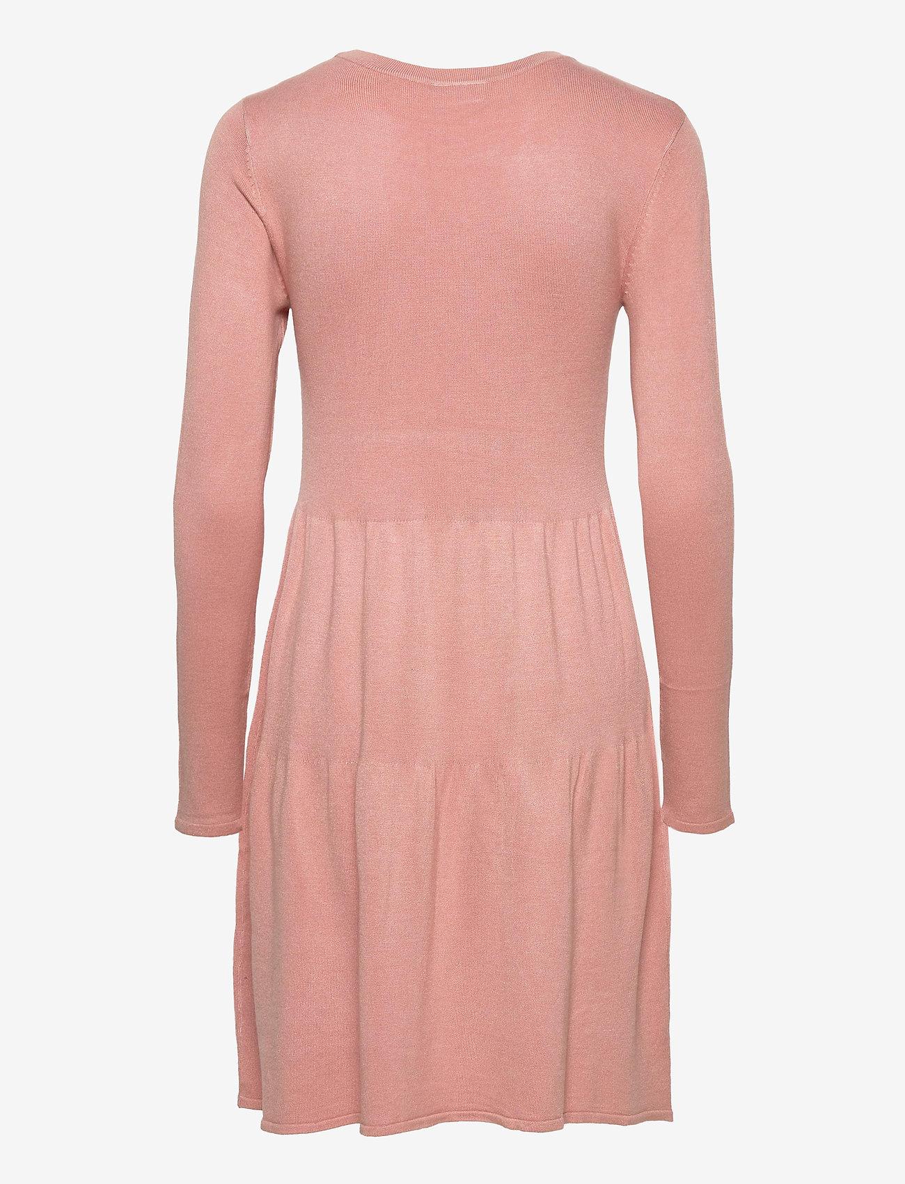 Vila - VIBOLONSIA KNIT L/S DRESS TB - midi dresses - misty rose - 1