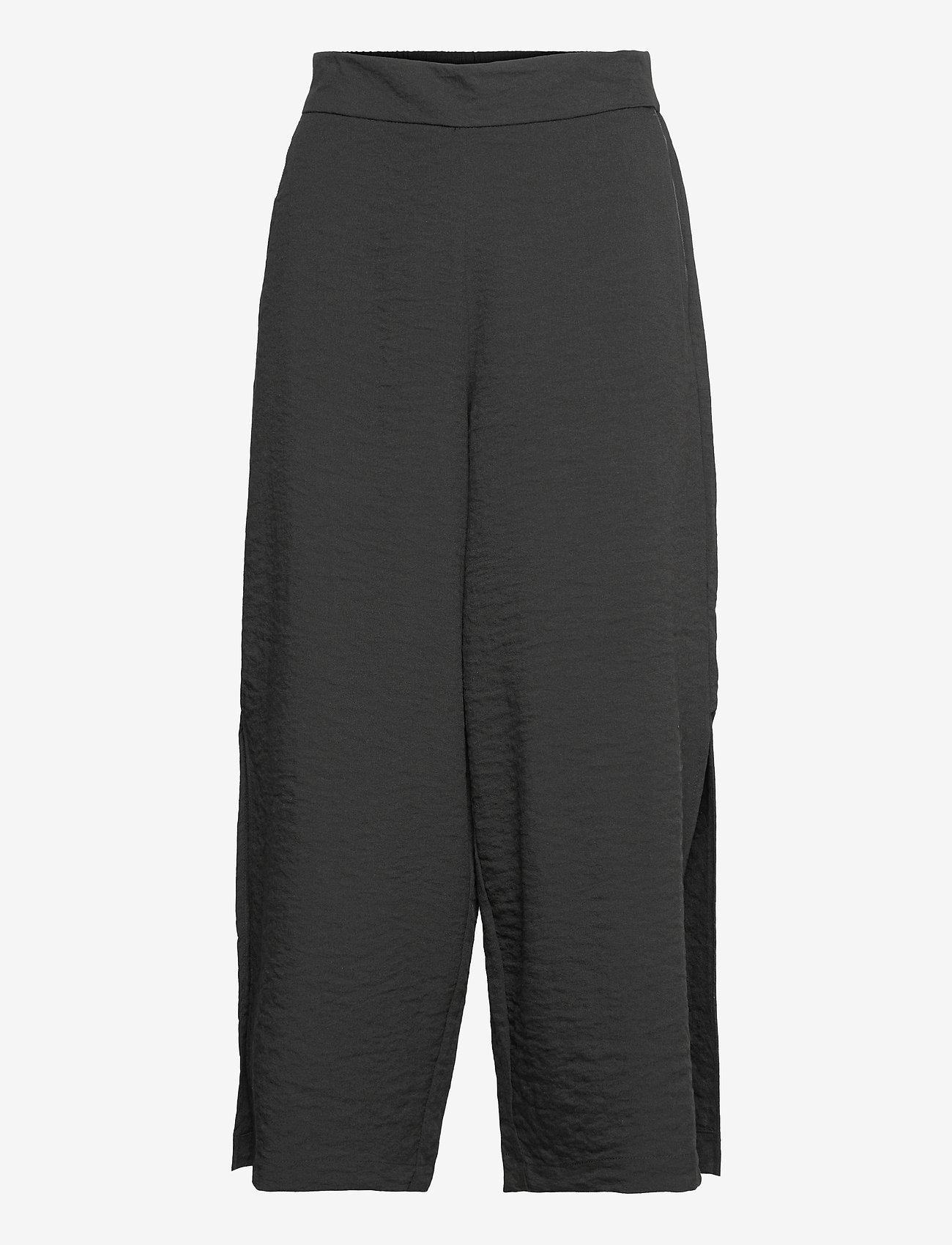 Vila - VILINEA RW 7/8 PANTS/2 - bukser med brede ben - black - 0