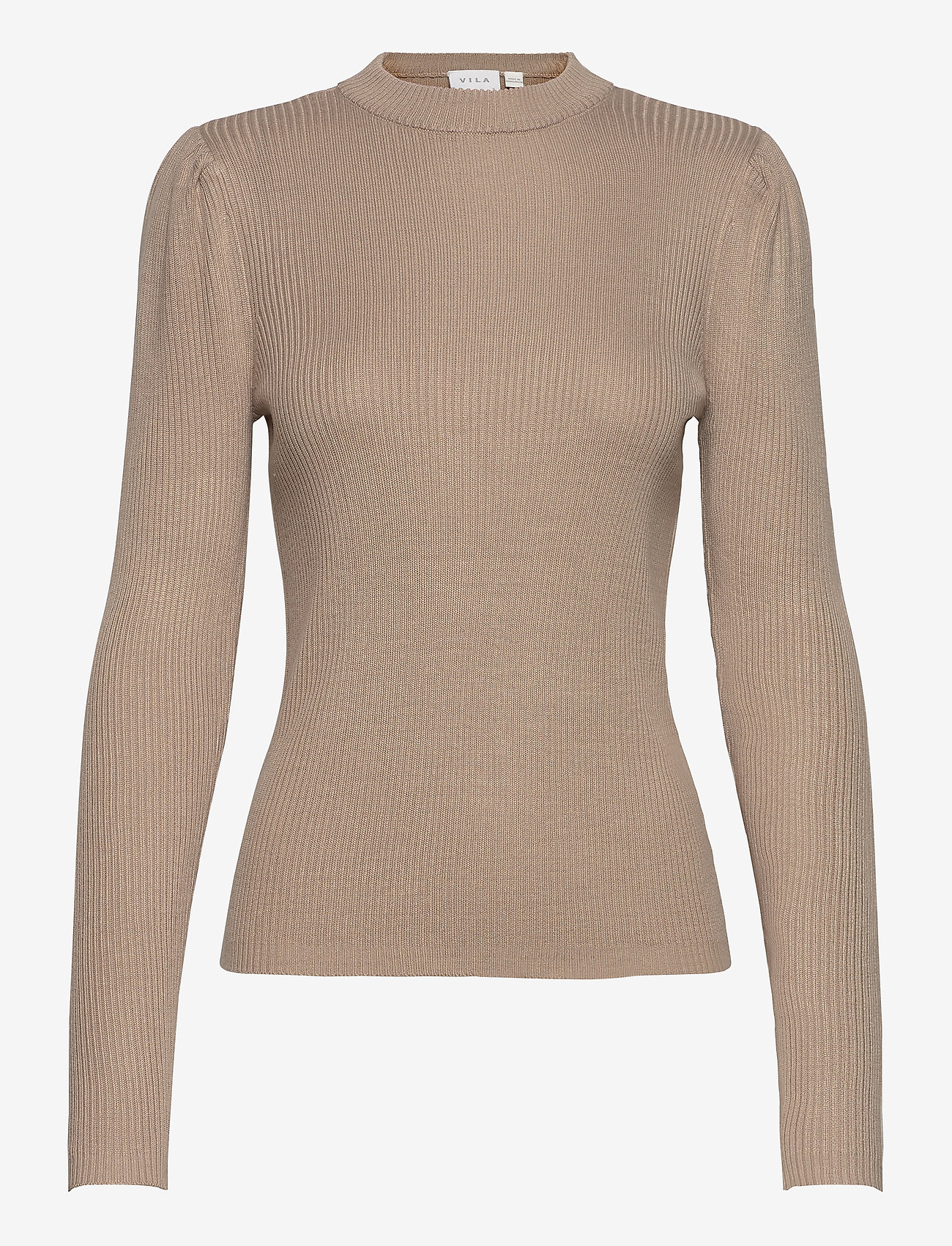 Vila - VIPOPSA KNIT CREW  NECK L/S TOP - jumpers - simply taupe - 0