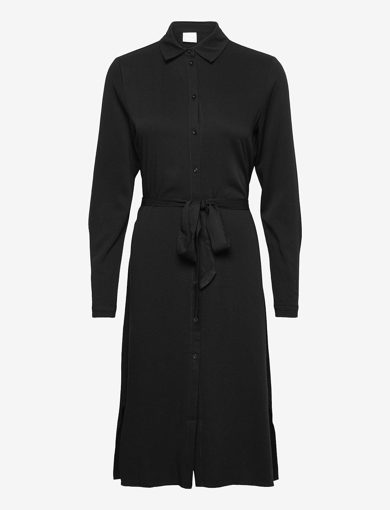 Vila - VIDANIA BELT L/S SHIRT DRESS/SU - - alledaagse jurken - black - 0