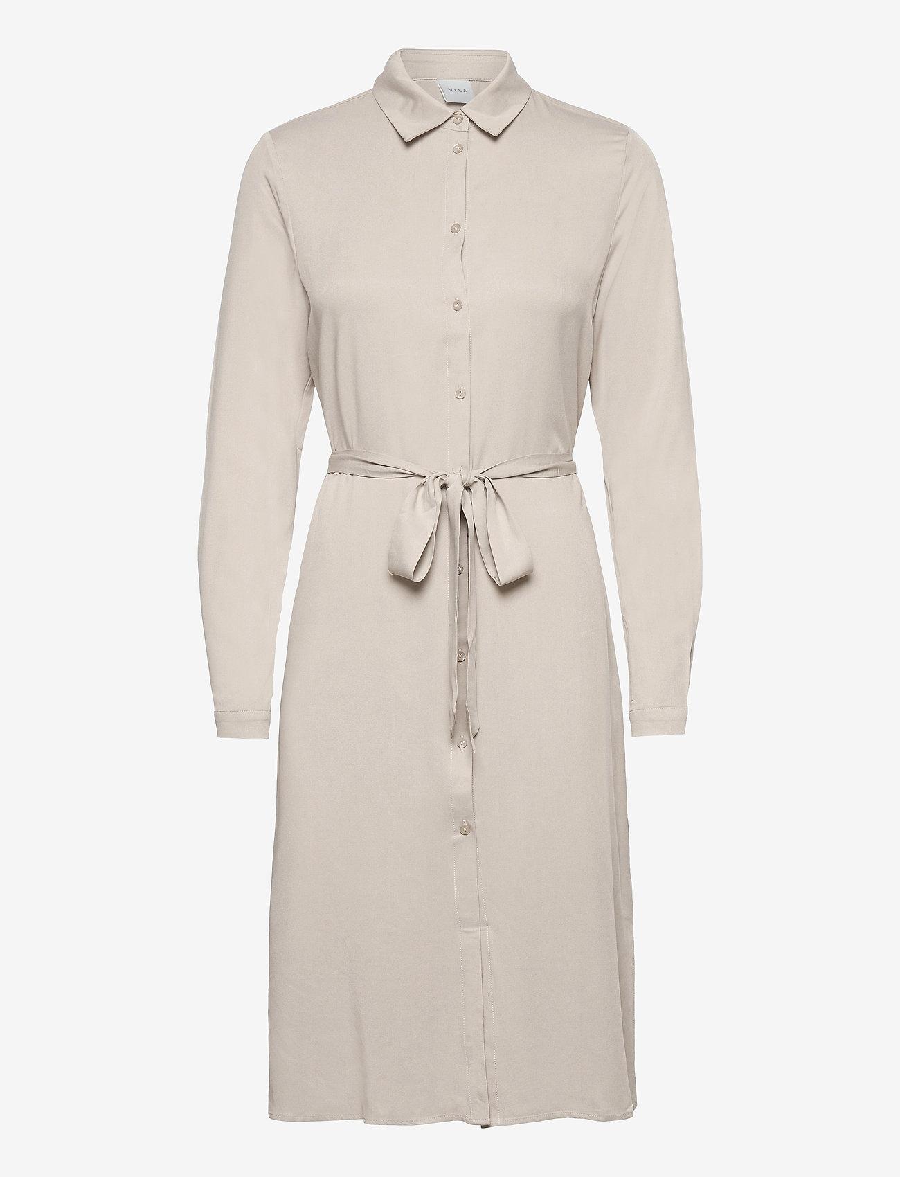 Vila - VIDANIA BELT L/S SHIRT DRESS/SU - - alledaagse jurken - dove - 0