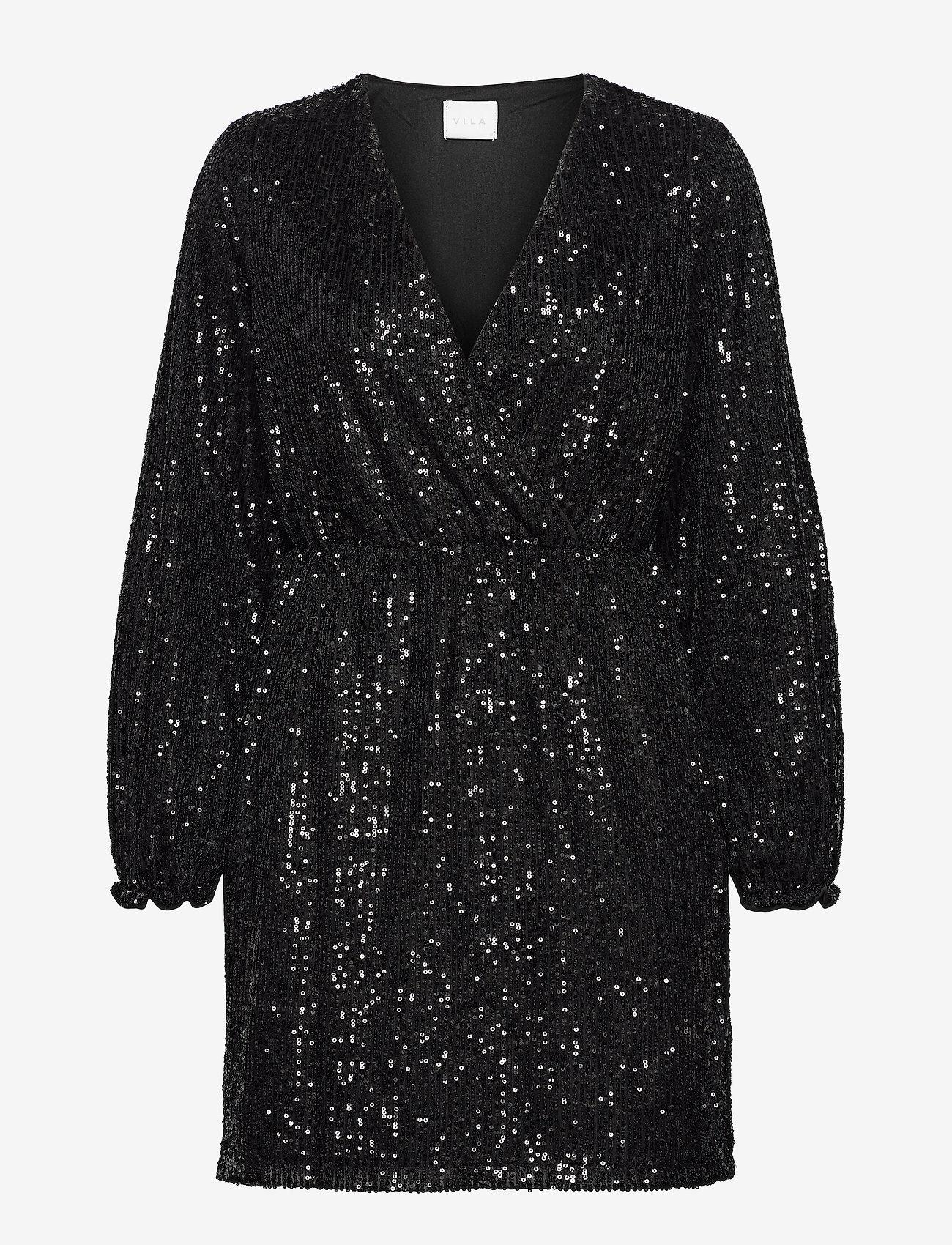 Vila - VILYC L/S SHORT DRESS - paljettkjoler - black - 0